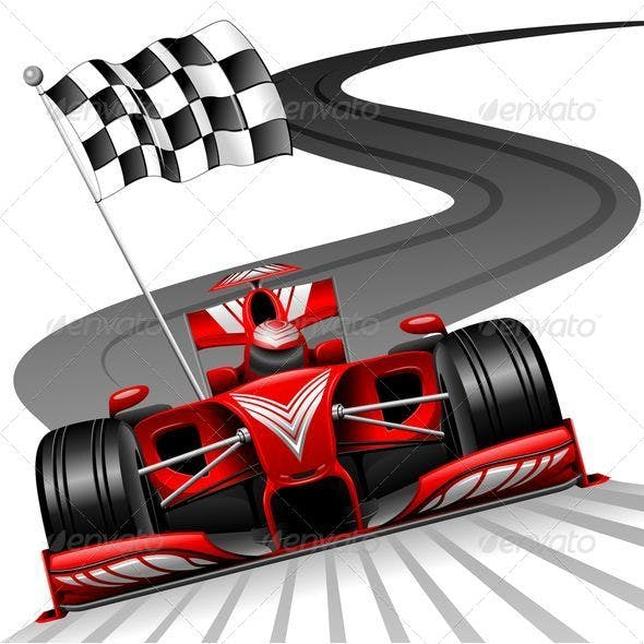 Formula 1 Red Car on Race Track