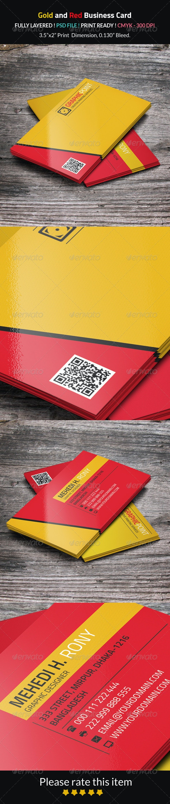 Gold and Red Business Card - Corporate Business Cards