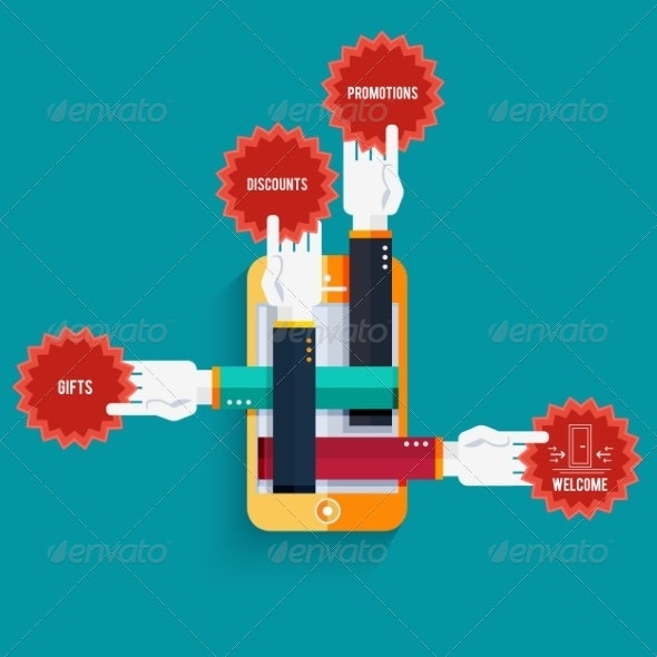 Smartphone with Hands Holding Stickers with Text - Communications Technology