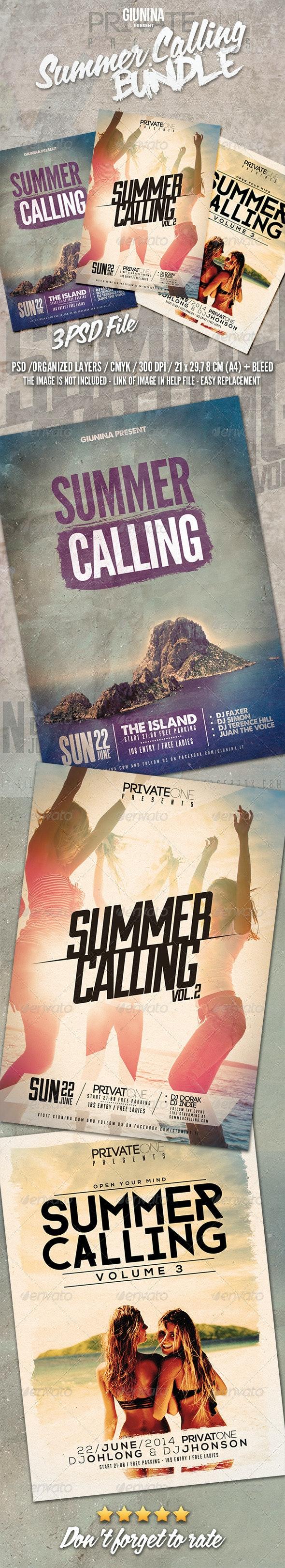 Summer Calling Flyer/Poster Bundle Vol.1-3 - Events Flyers