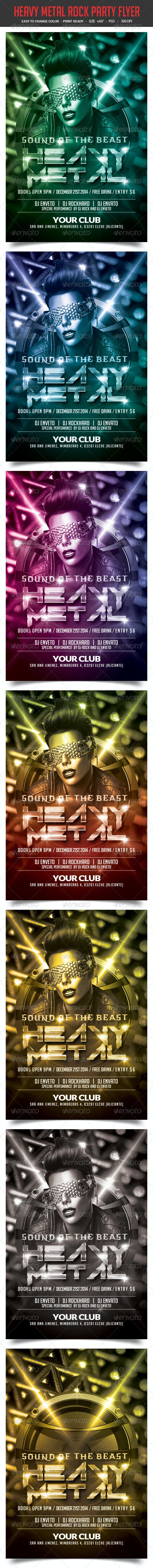 Heavy Metal Rock Party Flyer - Clubs & Parties Events