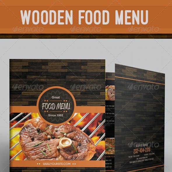Wooden Food Menu