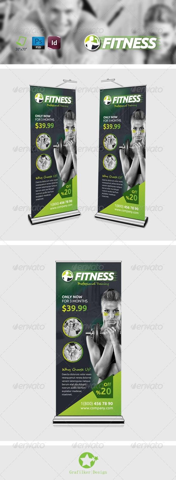 Fitness Salon Roll-Up Templates - Signage Print Templates