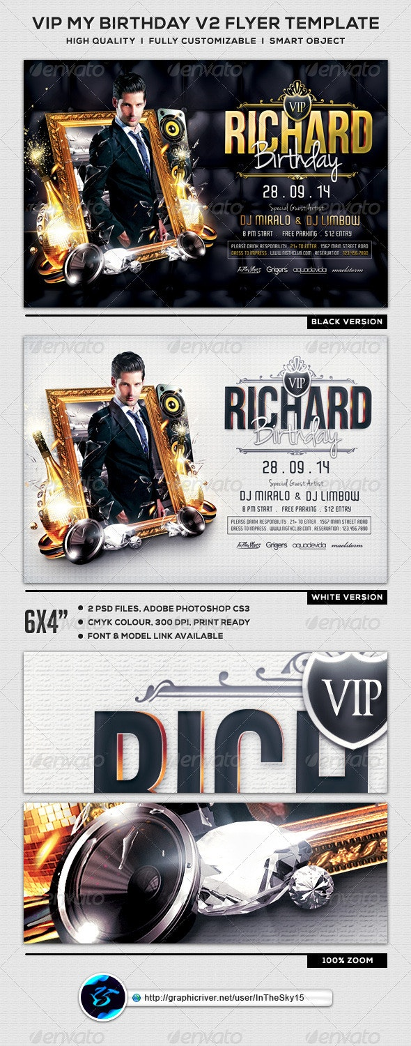 VIP My Birthday V2 Flyer Template - Clubs & Parties Events