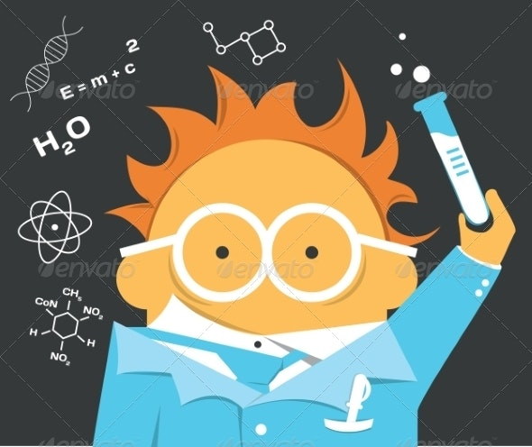 Crazy Scientist in Glasses with a Bulb - Miscellaneous Characters
