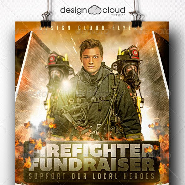 Fire Fighter Fundraiser Event Flyer Template