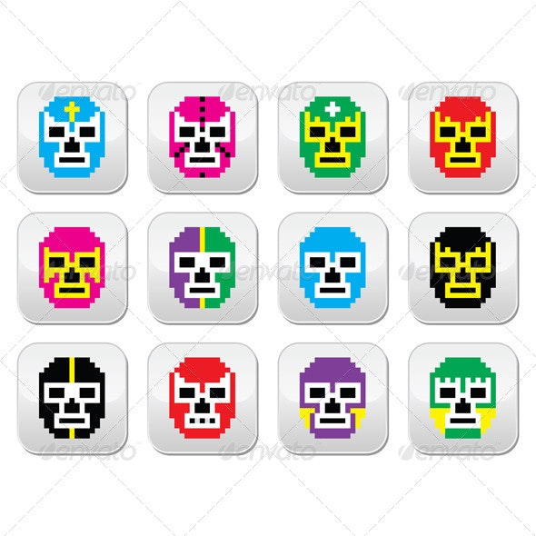 Lucha Libre Pixelated Mexican Wrestling  - Sports/Activity Conceptual