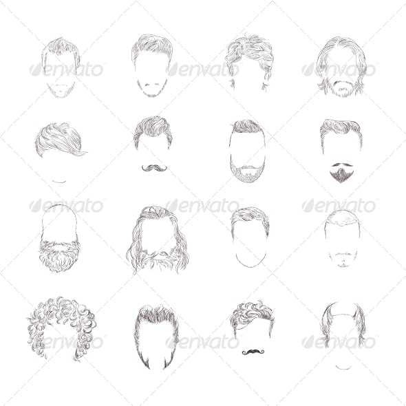 Man Hair Style Set - People Characters
