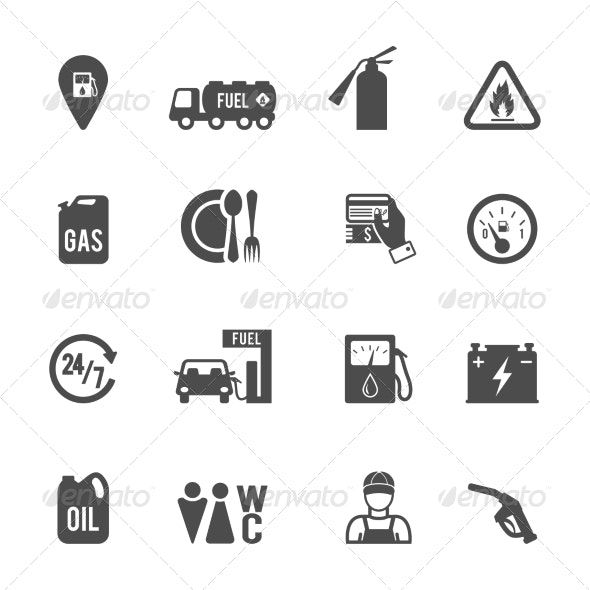 Fuel Pump Icons Set - Technology Icons