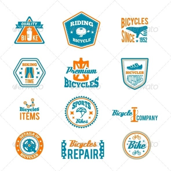 Set of Bicycling Label - Sports/Activity Conceptual