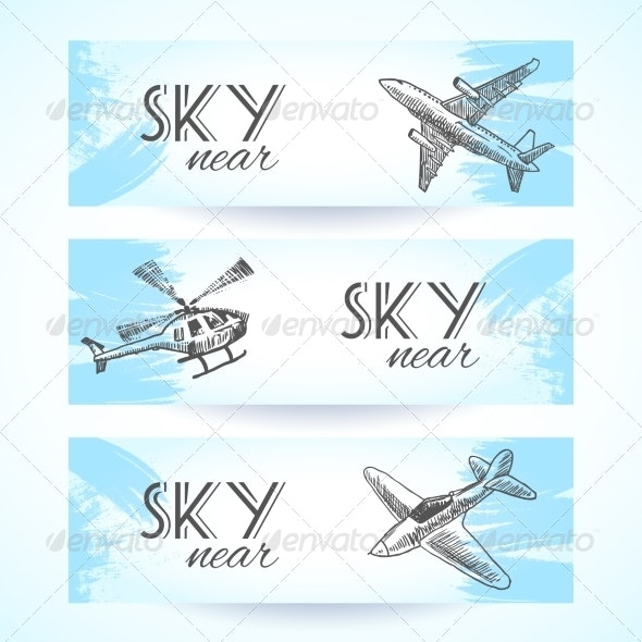 Aircraft Icon Banners Sketch - Travel Conceptual