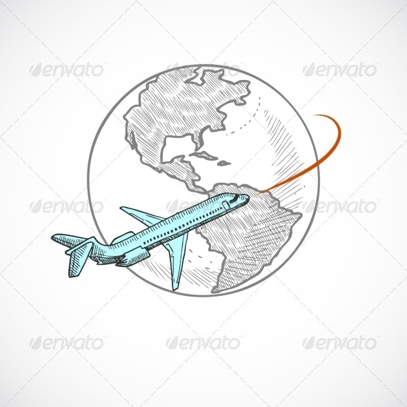 Aircraft and Globe Icon - Travel Conceptual