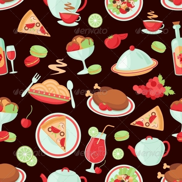 Restaurant Seamless Pattern - Backgrounds Decorative