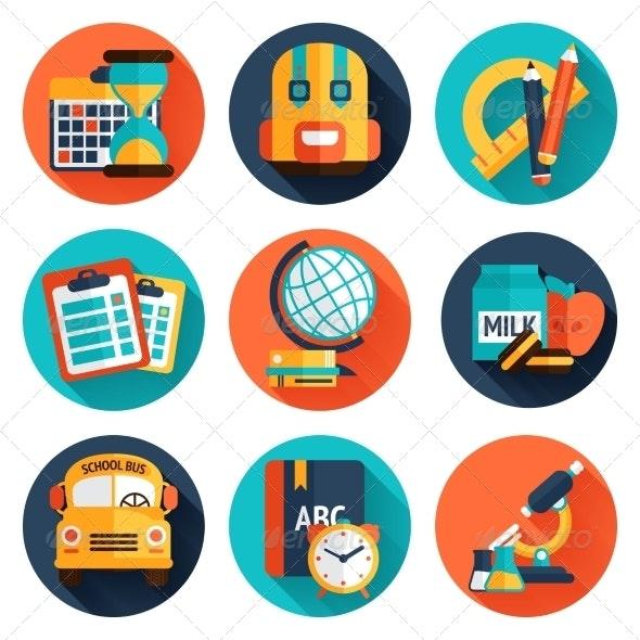 Education Flat Icons Set - Business Icons