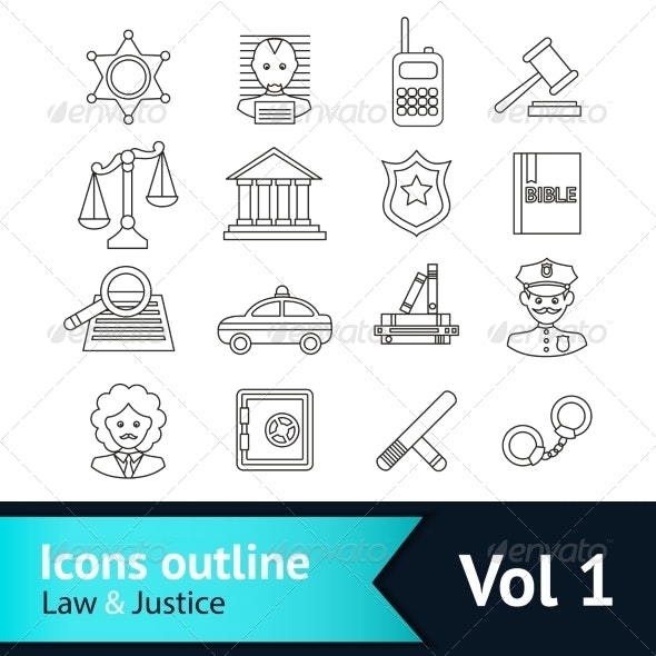 Law and Justice Icons Set - Business Icons