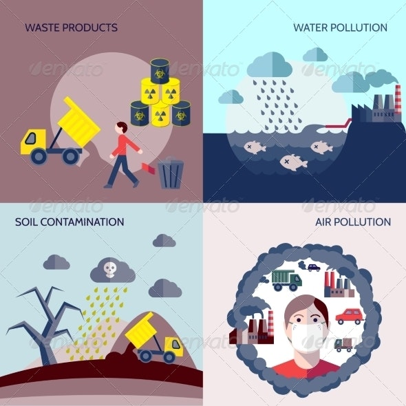 Pollution Icons Flat Set - Industries Business