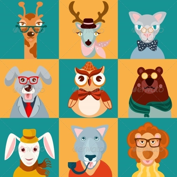 Animal Hipsters Icons Flat - Animals Characters