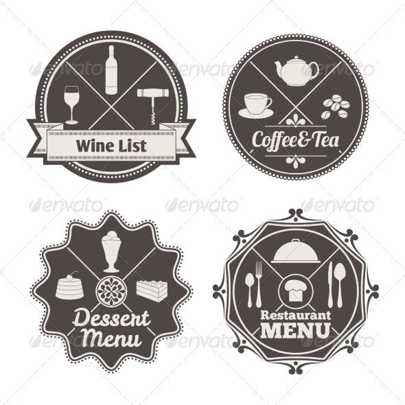 Restaurant Menu Labels - Decorative Symbols Decorative