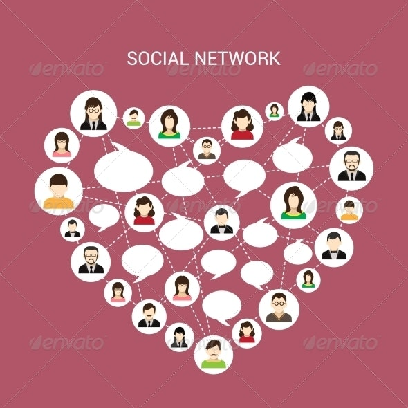 Social Network Heart - Concepts Business