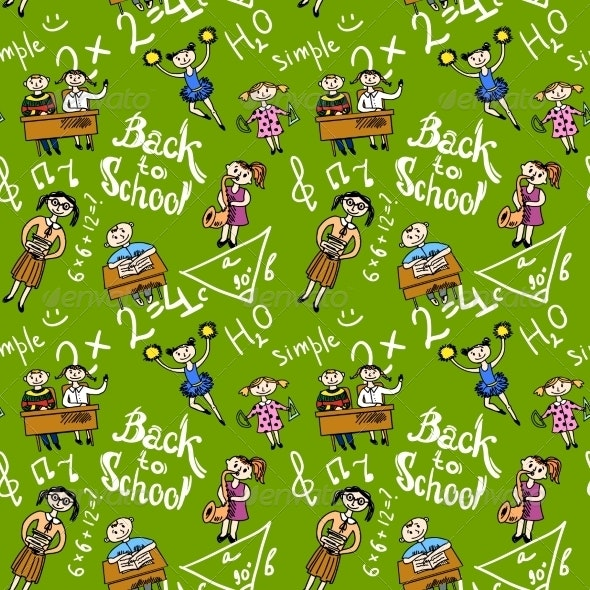 Seamless Background with Kids - Backgrounds Decorative