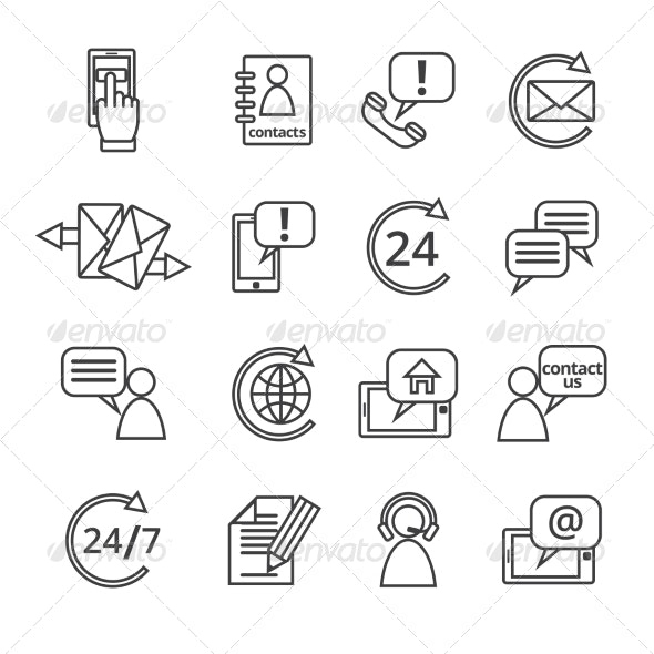 Contact Us Service Icons - Web Technology