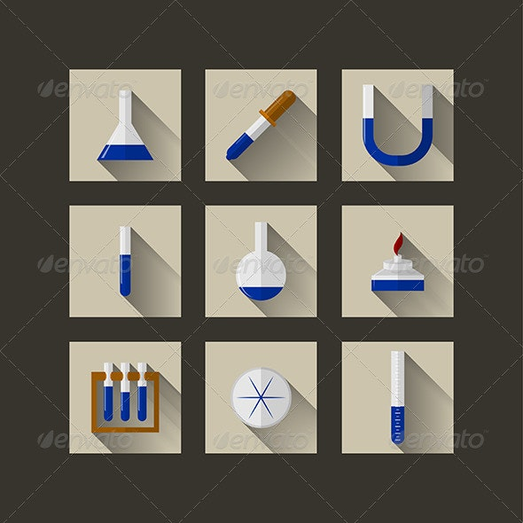 Flat Icons for Chemistry - Health/Medicine Conceptual