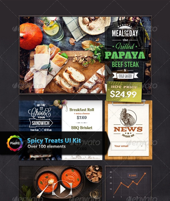 Spicy Treats UI Kit - User Interfaces Web Elements