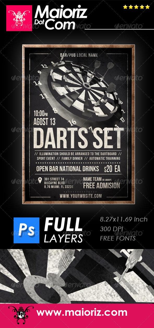 Vintage Darts Flyer - Clubs & Parties Events