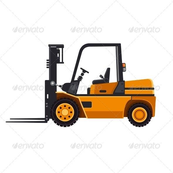 Yellow Forklift Loader Truck