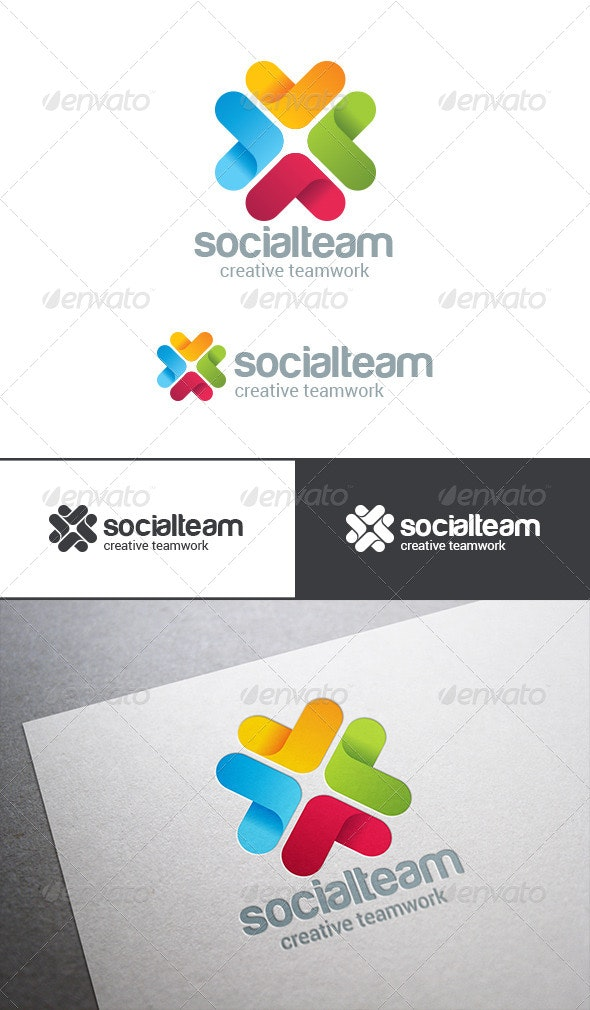Social Team Work Web Technology Logo - Abstract Logo Templates
