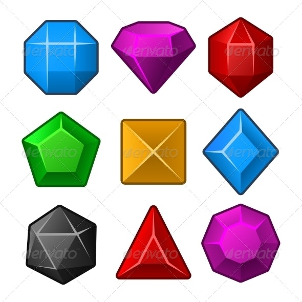 Set of Multicolored Gems for Match Games - Miscellaneous Icons