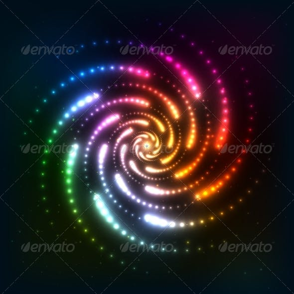 Abstract Rainbow Neoncosmic Spiral Background