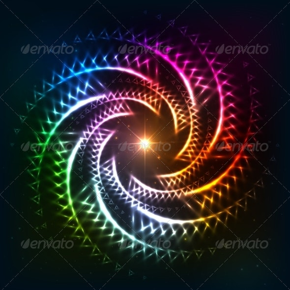 Abstract Rainbow Neoncosmic Spiral Background - Backgrounds Decorative