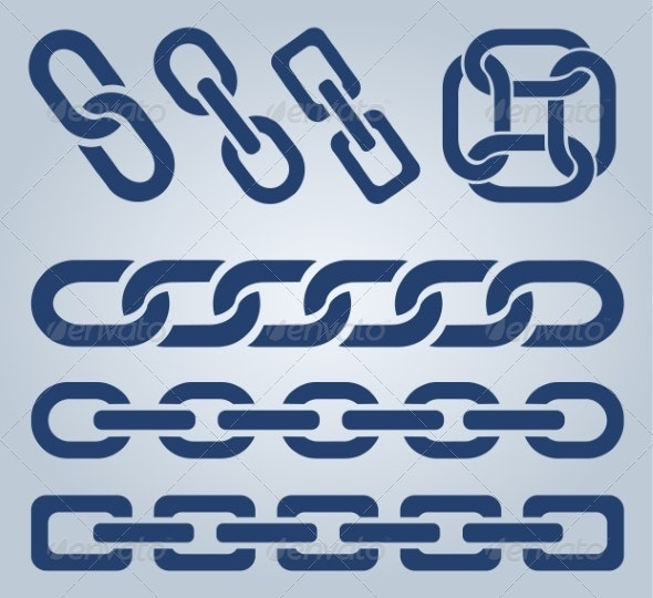 Set of Chain Icons - Man-made Objects Objects