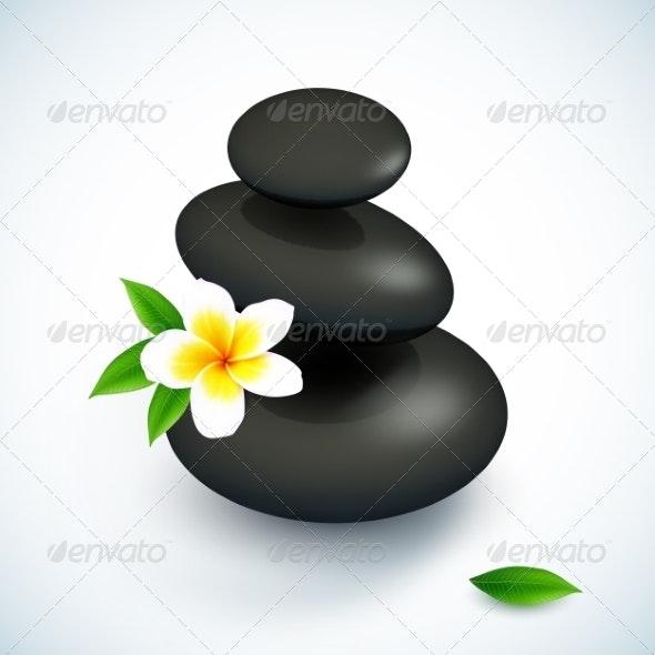 Black Spa Rocks Pyramid with Frangipani Flower - Health/Medicine Conceptual