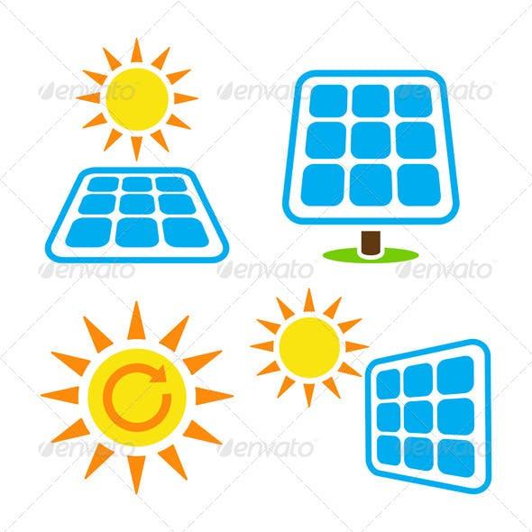 Solar Panel Eco Energy Icons Set