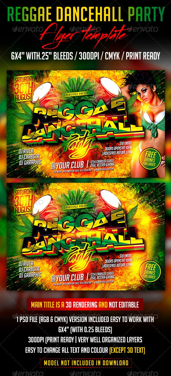 Reggae Dancehall Party Flyer Template - Clubs & Parties Events