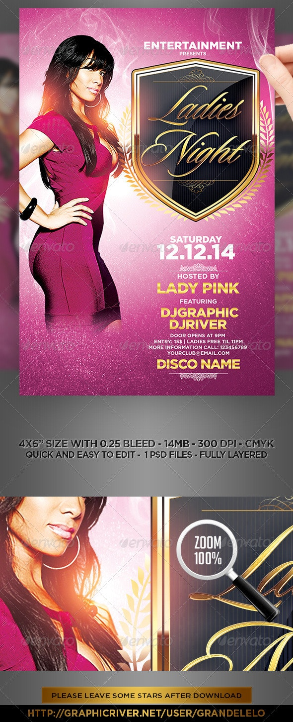 Ladies Night Pink Flyer Template - Clubs & Parties Events