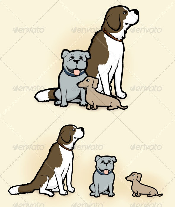 Big, Medium, and Small Dogs - Animals Characters