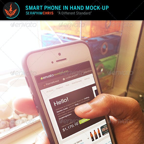 Smart Phone in Hand Mock-Up Template