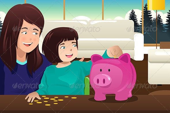 Mother Daughter Saving Money to a Piggybank - People Characters