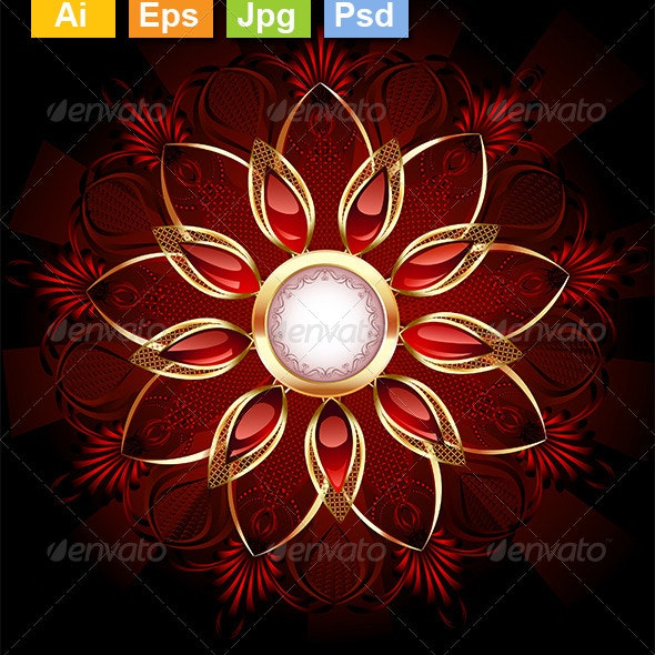 Round Banner with Abstract Flower - Decorative Vectors