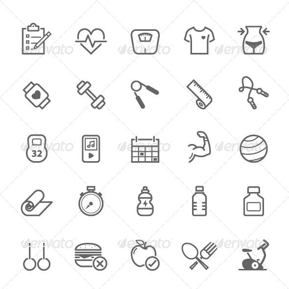 25 Outline Stroke Fitness Icons