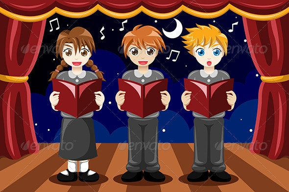 Children Singing in a Choir - People Characters