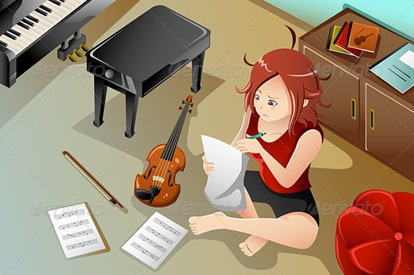 Songwriter with her Violin - People Characters