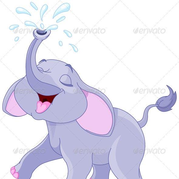 Sprinkling Baby Elephant