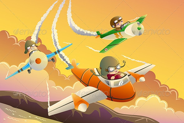 Kids in an Airplane Race - Sports/Activity Conceptual