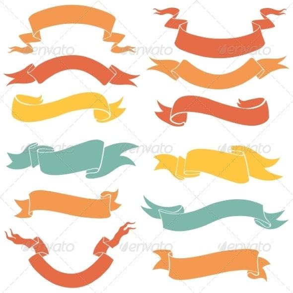 Vector Set of Ribbons - Abstract Conceptual