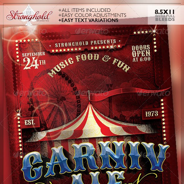 Vintage Carnivale Brewery Flyer Template