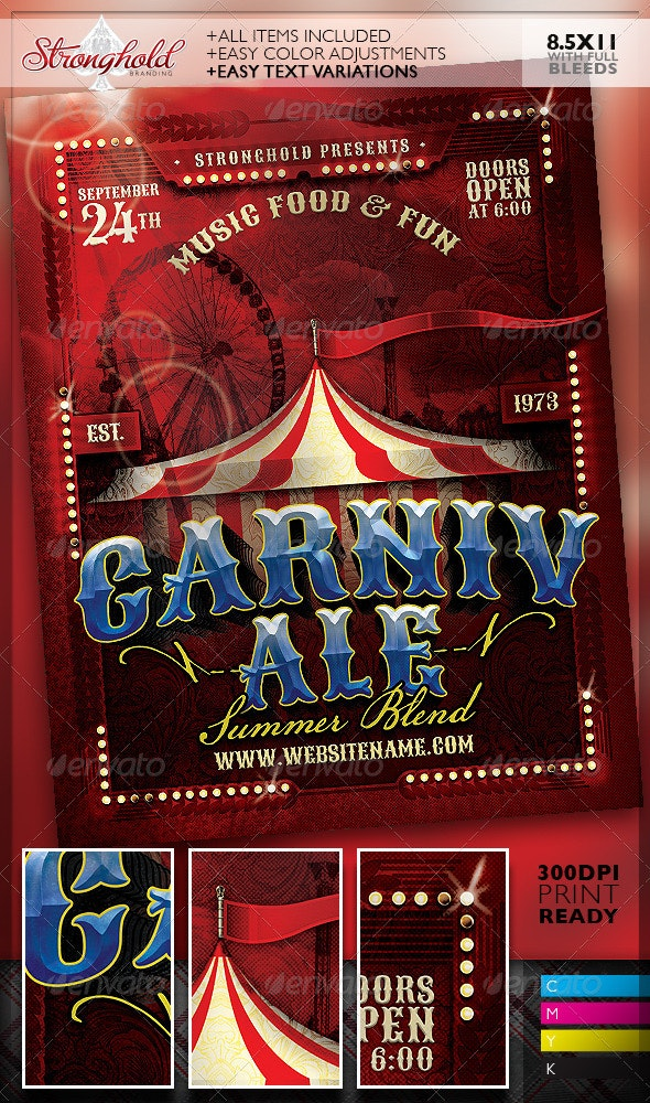 Vintage Carnivale Brewery Flyer Template - Clubs & Parties Events